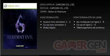 Resident Evil 6 - Marché Xbox LIVE - fiche