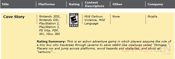 Cave Story - ERSB rating