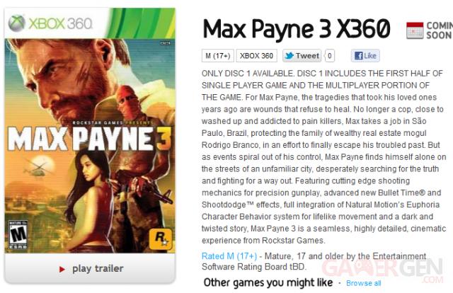 Max Payne 3 - deux DVD