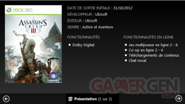 assassin's creed III xbox.com coopération leak
