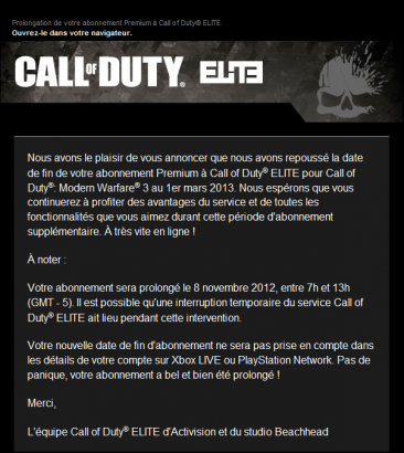 call of duty elite prologation