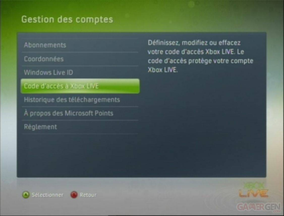 code d'acces xbox live