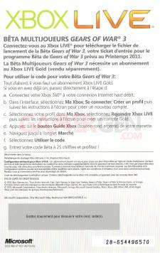 code gears of war 3 beta back