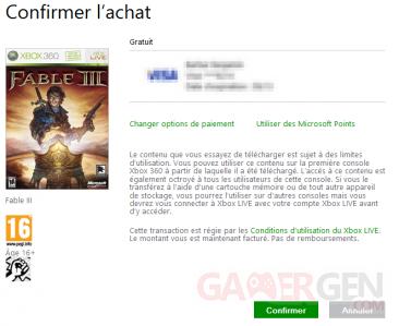 fable III gratuit xbox live