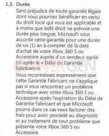 garantie Microsoft xbox 360 S 002