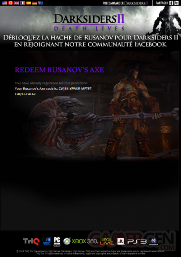 Hâche de Rusanov darksiders II 2 facebook