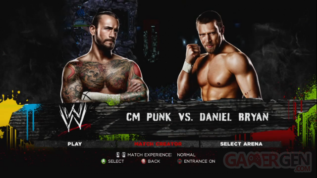 WWE 13 mode creation capture image screenshot CM Punk vs Daniel Bryan