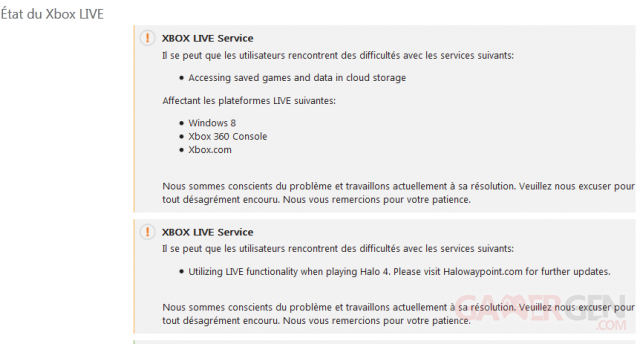 Xbox LIVE Etat Statut 22-02-2013